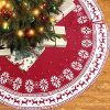 Christmas Ornament Tree Skirt 48 Inch Snow Flower Elk Red Tree Skirt Rustic Xmas Tree Skirt For Christmas Decorations Indoor Outdoor 0 100x100
