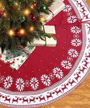 Christmas Ornament Tree Skirt 48 Inch Snow Flower Elk Red Tree Skirt Rustic Xmas Tree Skirt For Christmas Decorations Indoor Outdoor 0 300x360