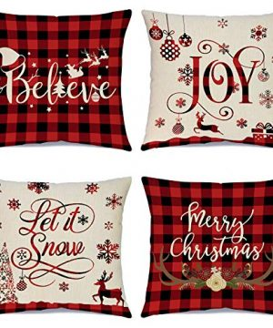 Christmas Pillow Covers 1818 Inch Set Of 4 Christmas Saying Farmhouse Buffalo Plaid Pillow Case For Sofa Couch Christmas Decorations Throw Pillow Covers 0 300x360