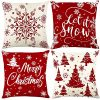 Christmas Pillow Covers 18x18 Set Of 4 Rustic Buffalo Plaid Farmhouse Cushion Pillow Case For Christmas Decorations Indoor Living Room Home Couch 0 100x100
