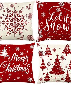 Christmas Pillow Covers 18x18 Set Of 4 Rustic Buffalo Plaid Farmhouse Cushion Pillow Case For Christmas Decorations Indoor Living Room Home Couch 0 300x360
