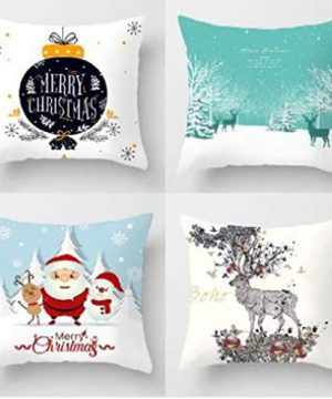 Christmas Pillow Covers 18x18 Sets Of 4 Christmas Holiday Decor Zippered Pillow Case Cushion Cover Farmhouse Throw Pillow Covers For Couch Sofa Outdoor Home Decor Snow Christmas 0 300x360