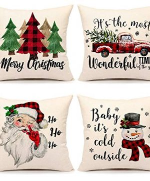 Christmas Pillow Covers 20x20 Set Of 4 Farmhouse Christmas Decor Red Black Buffalo Plaids Winter Holiday Decorations Throw Cushion Case For Home CouchTree Rustic Truck Santa Claus Snowman Quote 0 300x360