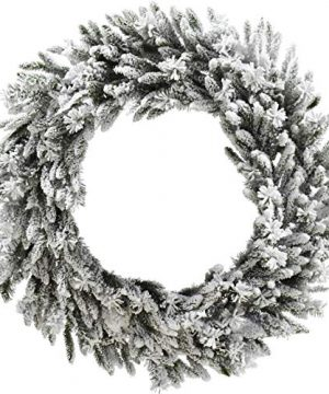 Christmas Time 36 Silverado Pine White Flocked Christmas Decor Wreath With Attached Pinecones No Lights Snow 0 300x360