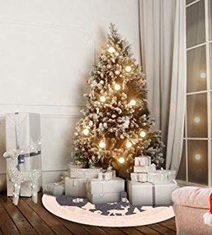 Christmas Tree Skirt Fur Rustic White Xmas Tree SkirtSnowy Christmas Trees Mat Decorations IndoorsDeer And Snowflake Pattern 48 Inches White Deer 0 0 300x333