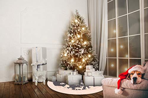 Christmas Tree Skirt Fur Rustic White Xmas Tree SkirtSnowy Christmas Trees Mat Decorations IndoorsDeer And Snowflake Pattern 48 Inches White Deer 0 0