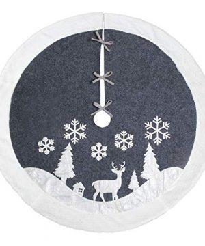 Christmas Tree Skirt Fur Rustic White Xmas Tree SkirtSnowy Christmas Trees Mat Decorations IndoorsDeer And Snowflake Pattern 48 Inches White Deer 0 3 300x360