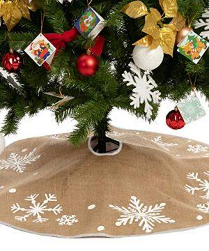Christmas Tree Skirt With Snowflakes 36 Rustic Tree Skirt Decoration For Xmas Home Holiday Seasonal Decors 0 300x360