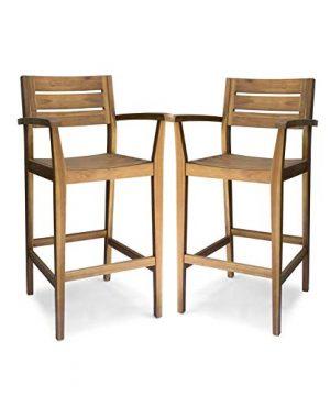 Christopher Knight Home 305813 Lera Outdoor Rustic Acacia Wood Barstool Set Of 2 Teak Finish 0 300x360