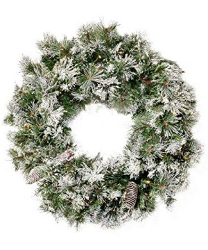 Christopher Knight Home 307397 24 Mixed Spruce Christmas Wreath W50 Warm White LED Lights Flocked Snow And Glitter Branches Pinecones Battery Operated Timer Included Green 0 300x360
