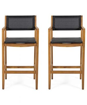 Christopher Knight Home 312830 Calista Acacia Wood Barstools With Outdoor Mesh Set Of 2 Teak And Black 0 300x360