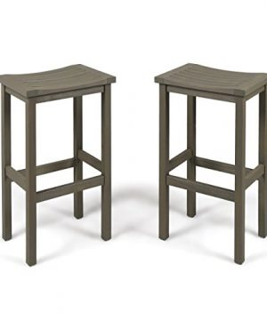 Christopher Knight Home Caribbean Outdoor 30 Acacia Wood Barstools 2 Pcs Set Grey Finish 0 300x360