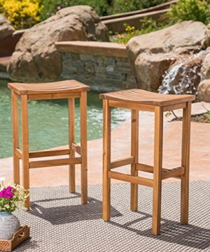 Christopher Knight Home Caribbean Outdoor 30 Acacia Wood Barstools 2 Pcs Set Natural Stained 0 300x360