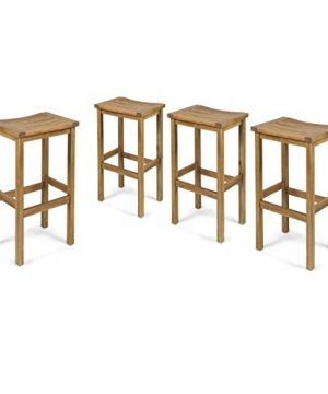 Christopher Knight Home Caribbean Outdoor 30 Acacia Wood Barstools 4 Pcs Set Natural Stained 0 300x360