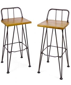 Christopher Knight Home Denali Outdoor Industrial Acacia Wood Barstools With Finished Iron Frame 2 Pcs Set Teak Finish Rustic Metal 0 300x360