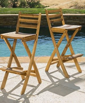 Christopher Knight Home Tundra Outdoor Foldable Wood Barstool Set 2 Pcs Set Natural 0 0 300x360