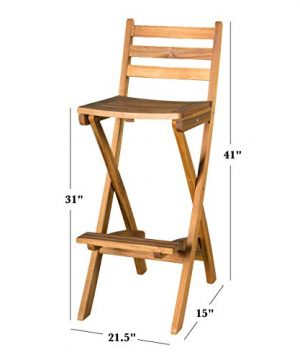 Christopher Knight Home Tundra Outdoor Foldable Wood Barstool Set 2 Pcs Set Natural 0 1 300x360