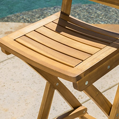 Christopher Knight Home Tundra Outdoor Foldable Wood Barstool Set 2 Pcs Set Natural 0 2
