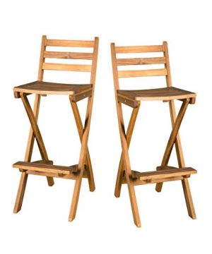 Christopher Knight Home Tundra Outdoor Foldable Wood Barstool Set 2 Pcs Set Natural 0 300x360