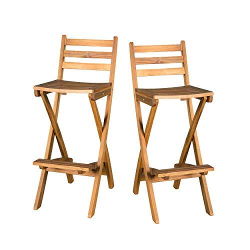 Christopher Knight Home Tundra Outdoor Foldable Wood Barstool Set 2 Pcs Set Natural 0