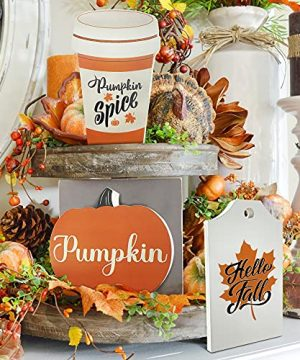 Cocomong Fall Tiered Tray Signs Rustic Farmhouse Serving Tray Decorations For HomeHello Fall Pumpkin Wood Sign Set Of 3 Kitchen Table Decor Maple Leaf Wooden Block Autumn Fall Decorative Supplies 0 300x360