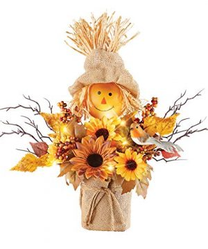 Collections Etc Cute Lighted LED Scarecrow And Sunflowers Harvest Centerpiece Arrangement Perfect Thanksgiving Tabletop Decoration 0 300x360
