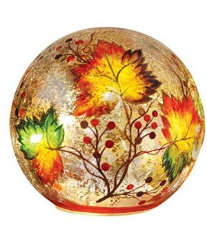 Collections Etc Lighted Fall Leaf Glass Crackle Ball 0 300x360