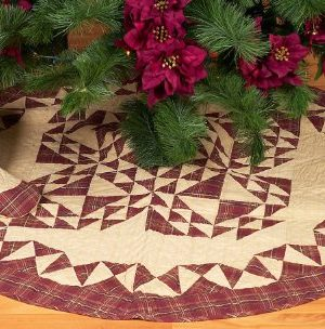 Colonial Patches Burgundy Quilted Christmas Tree Skirt 48 Inches Round 100 Cotton Handmade Hand Quilted Heirloom Quality 0 300x304