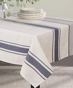 ColorBird French Stripe Tablecloth Cotton Linen Fabric Dust Proof Farmhouse Table Cover For Kitchen Dining Party Brunches RectangleOblong 55 X 70 Inch Navy 0 300x360