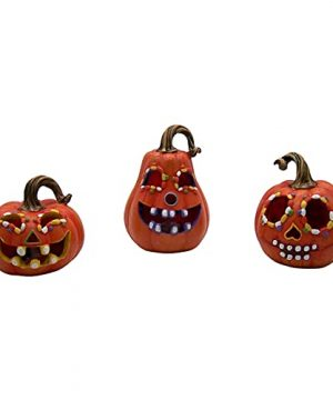 Colorful Lighted Halloween Pumpkins Carved Design Seasonal Decor Set Of 3 Assorted Sizes 0 300x360
