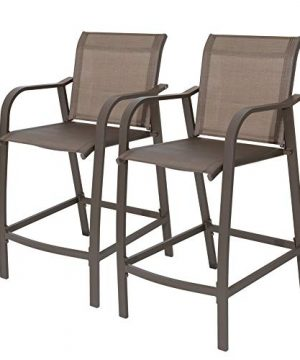 Crestlive Products Counter Height Bar Stools All Weather Patio Furniture With Heavy Duty Aluminum Frame In Antique Brown Finish For Outdoor Indoor 2 PCS Set 275 Seat Height Brown 0 300x360