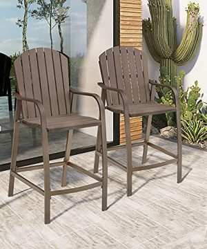 Crestlive Products Patio Wood Bar Stools Counter Height Chairs All Weather Furniture With Heavy Duty Aluminum Frame Polywood In Brown Finish For Outdoor Indoor Pack Of 2 Brown 0 300x360
