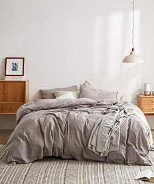 DAPU Cotton Linen Blend Duvet Cover Set 55 French Linen And 45 Long Staple Cotton Breathable And Durable 1 Duvet Cover With Button Closure And 2 Pillowcases GrayCotton Linen FullQueen 0 300x360