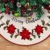DAVID ROCCO Christmas Burlap Rustic Tree Skirt With Holly Leaves And Red Flowers 48 Inch Rustic Xmas Tree Mat For Traditional House Decoration In Farmhouse 0 100x100