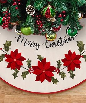 DAVID ROCCO Christmas Burlap Rustic Tree Skirt With Holly Leaves And Red Flowers 48 Inch Rustic Xmas Tree Mat For Traditional House Decoration In Farmhouse 0 300x360