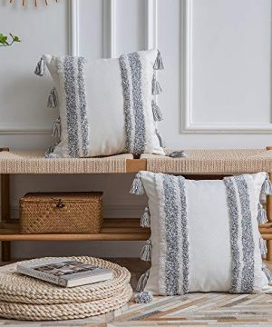 DEZENE Boho Throw Pillow Covers 2 Pack 100 Cotton Woven Tufted Decorative Square Pillowcases With Tassels For Couch Sofa Bed Accent Cushion Covers For Farmhouse Kids 18 X 18 Inch Grey 0 0 300x360