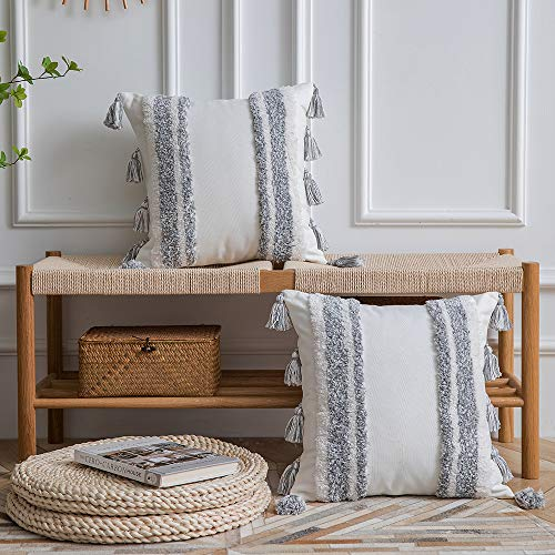 DEZENE Boho Throw Pillow Covers 2 Pack 100 Cotton Woven Tufted Decorative Square Pillowcases With Tassels For Couch Sofa Bed Accent Cushion Covers For Farmhouse Kids 18 X 18 Inch Grey 0 0