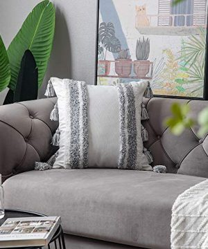 DEZENE Boho Throw Pillow Covers 2 Pack 100 Cotton Woven Tufted Decorative Square Pillowcases With Tassels For Couch Sofa Bed Accent Cushion Covers For Farmhouse Kids 18 X 18 Inch Grey 0 2 300x360