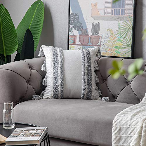 DEZENE Boho Throw Pillow Covers 2 Pack 100 Cotton Woven Tufted Decorative Square Pillowcases With Tassels For Couch Sofa Bed Accent Cushion Covers For Farmhouse Kids 18 X 18 Inch Grey 0 2