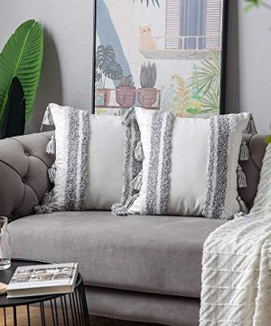 DEZENE Boho Throw Pillow Covers 2 Pack 100 Cotton Woven Tufted Decorative Square Pillowcases With Tassels For Couch Sofa Bed Accent Cushion Covers For Farmhouse Kids 18 X 18 Inch Grey 0 3 300x360