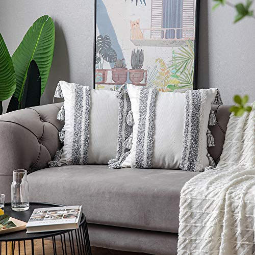 DEZENE Boho Throw Pillow Covers 2 Pack 100 Cotton Woven Tufted Decorative Square Pillowcases With Tassels For Couch Sofa Bed Accent Cushion Covers For Farmhouse Kids 18 X 18 Inch Grey 0 3