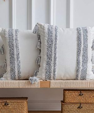 DEZENE Boho Throw Pillow Covers 2 Pack 100 Cotton Woven Tufted Decorative Square Pillowcases With Tassels For Couch Sofa Bed Accent Cushion Covers For Farmhouse Kids 18 X 18 Inch Grey 0 300x360