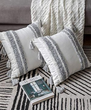 DEZENE Boho Throw Pillow Covers 2 Pack 100 Cotton Woven Tufted Decorative Square Pillowcases With Tassels For Couch Sofa Bed Accent Cushion Covers For Farmhouse Kids 18 X 18 Inch Grey 0 4 300x360