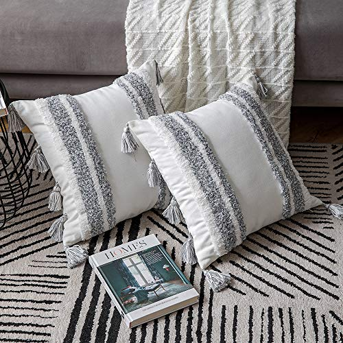 DEZENE Boho Throw Pillow Covers 2 Pack 100 Cotton Woven Tufted Decorative Square Pillowcases With Tassels For Couch Sofa Bed Accent Cushion Covers For Farmhouse Kids 18 X 18 Inch Grey 0 4