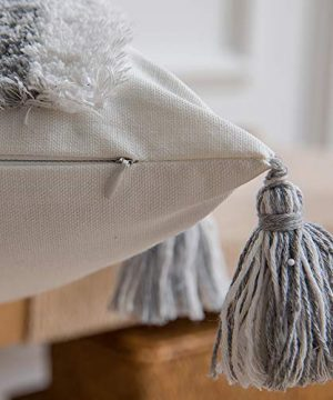 DEZENE Boho Throw Pillow Covers 2 Pack 100 Cotton Woven Tufted Decorative Square Pillowcases With Tassels For Couch Sofa Bed Accent Cushion Covers For Farmhouse Kids 18 X 18 Inch Grey 0 5 300x360