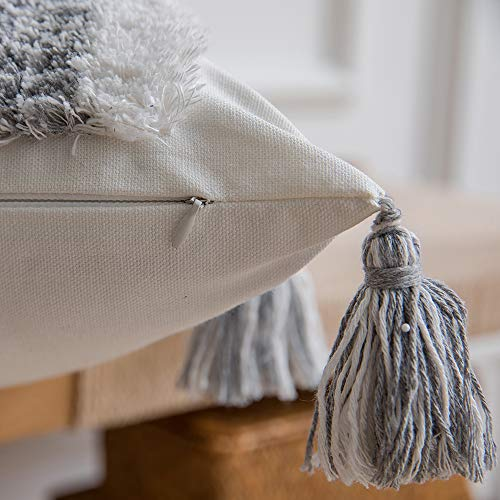 DEZENE Boho Throw Pillow Covers 2 Pack 100 Cotton Woven Tufted Decorative Square Pillowcases With Tassels For Couch Sofa Bed Accent Cushion Covers For Farmhouse Kids 18 X 18 Inch Grey 0 5