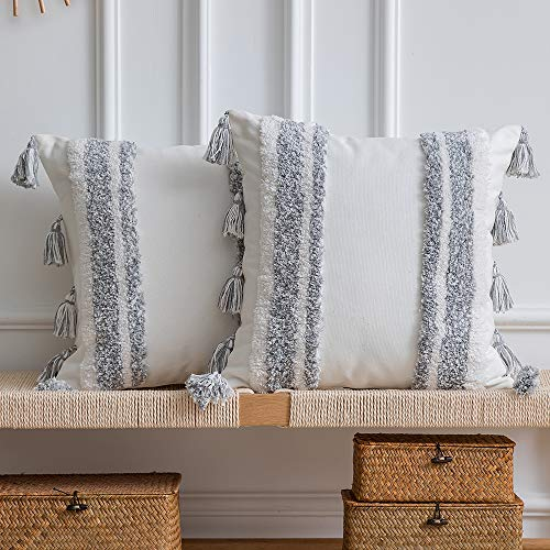 DEZENE Boho Throw Pillow Covers 2 Pack 100 Cotton Woven Tufted Decorative Square Pillowcases With Tassels For Couch Sofa Bed Accent Cushion Covers For Farmhouse Kids 18 X 18 Inch Grey 0
