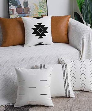 DEZENE Decorative Throw Pillow Covers Set Of 6 Modern Boho Square Cotton And Faux Leather Pillow Cases For Home Decor Living Room Farmhouse Sofa Couch 18 X 18 Inch WhiteBlackBrown 0 300x360