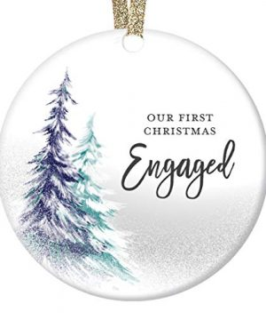 DIGIBUDDHA 1st Christmas Engaged Ornament Engagement Party Gifts For Couple First Xmas As Fiance Fiancee Man Woman Gay Present Ceramic Keepsake 3 Flat Circle Porcelain With Gold Ribbon Free Box 0 300x360