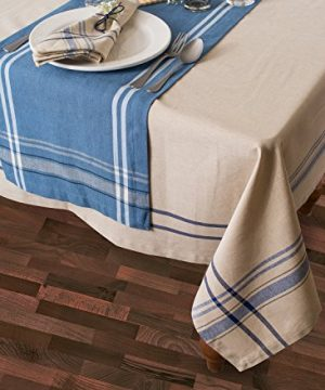 DII 100 Cotton Everyday French Stripe Tabletop Collection 60x84 TaupeBlue 0 0 300x360